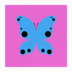 Pink Blue Butterfly Animals Fly Medium Glasses Cloth