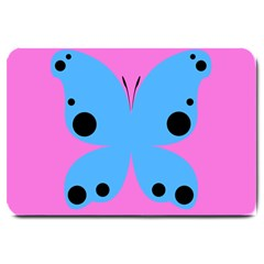 Pink Blue Butterfly Animals Fly Large Doormat