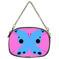 Pink Blue Butterfly Animals Fly Chain Purses (Two Sides)