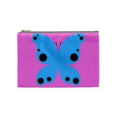 Pink Blue Butterfly Animals Fly Cosmetic Bag (Medium)