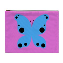 Pink Blue Butterfly Animals Fly Cosmetic Bag (XL)