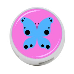 Pink Blue Butterfly Animals Fly 4-Port USB Hub (Two Sides)
