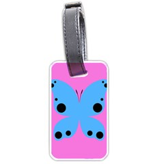 Pink Blue Butterfly Animals Fly Luggage Tags (Two Sides)