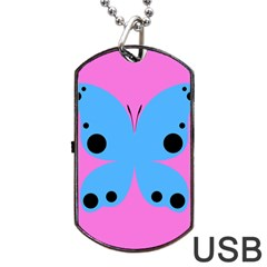 Pink Blue Butterfly Animals Fly Dog Tag USB Flash (One Side)