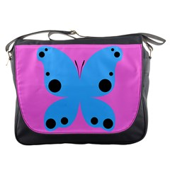 Pink Blue Butterfly Animals Fly Messenger Bags