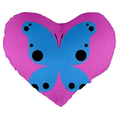 Pink Blue Butterfly Animals Fly Large 19  Premium Heart Shape Cushions