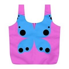 Pink Blue Butterfly Animals Fly Full Print Recycle Bags (L)