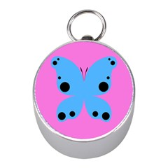 Pink Blue Butterfly Animals Fly Mini Silver Compasses