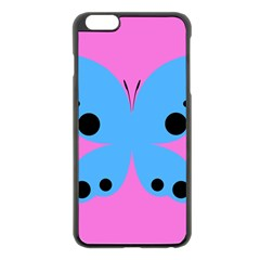 Pink Blue Butterfly Animals Fly Apple iPhone 6 Plus/6S Plus Black Enamel Case