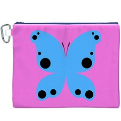 Pink Blue Butterfly Animals Fly Canvas Cosmetic Bag (XXXL)