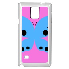 Pink Blue Butterfly Animals Fly Samsung Galaxy Note 4 Case (White)