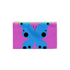Pink Blue Butterfly Animals Fly Cosmetic Bag (XS)