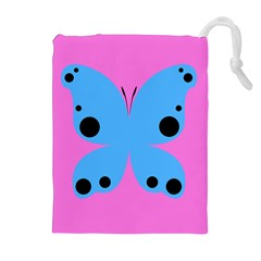 Pink Blue Butterfly Animals Fly Drawstring Pouches (Extra Large)