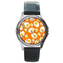 Orange Circle Egg Round Metal Watch