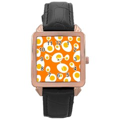 Orange Circle Egg Rose Gold Leather Watch