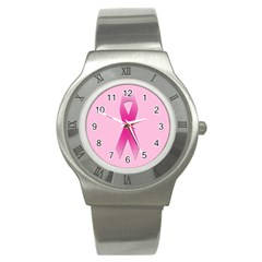 Pink Breast Cancer Symptoms Sign Stainless Steel Watch