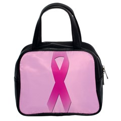 Pink Breast Cancer Symptoms Sign Classic Handbags (2 Sides)