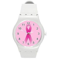 Pink Breast Cancer Symptoms Sign Round Plastic Sport Watch (M)
