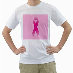 Pink Breast Cancer Symptoms Sign Men s T-Shirt (White)