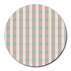 Rabbit Eggs Animals Pink Yellow White Rd Blue Round Mousepads