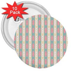 Rabbit Eggs Animals Pink Yellow White Rd Blue 3  Buttons (10 pack)