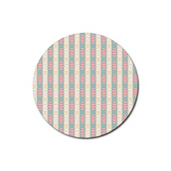 Rabbit Eggs Animals Pink Yellow White Rd Blue Rubber Round Coaster (4 Pack)