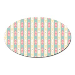Rabbit Eggs Animals Pink Yellow White Rd Blue Oval Magnet