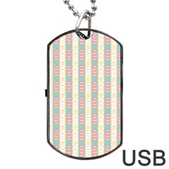 Rabbit Eggs Animals Pink Yellow White Rd Blue Dog Tag USB Flash (Two Sides)