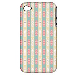 Rabbit Eggs Animals Pink Yellow White Rd Blue Apple iPhone 4/4S Hardshell Case (PC+Silicone)