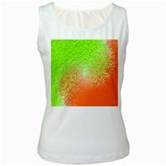 Plaid Green Orange White Circle Women s White Tank Top