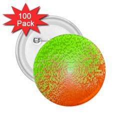 Plaid Green Orange White Circle 2.25  Buttons (100 pack)