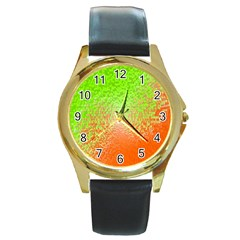 Plaid Green Orange White Circle Round Gold Metal Watch