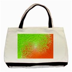 Plaid Green Orange White Circle Basic Tote Bag