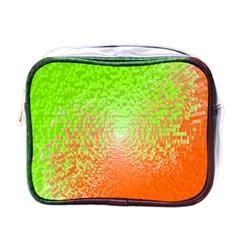 Plaid Green Orange White Circle Mini Toiletries Bags