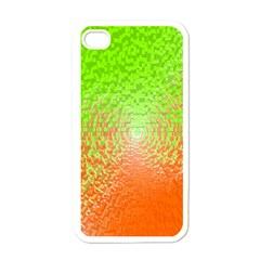 Plaid Green Orange White Circle Apple iPhone 4 Case (White)
