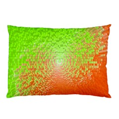 Plaid Green Orange White Circle Pillow Case (Two Sides)