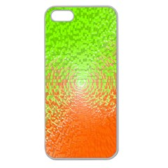 Plaid Green Orange White Circle Apple Seamless iPhone 5 Case (Clear)