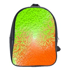 Plaid Green Orange White Circle School Bags (XL)