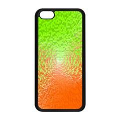 Plaid Green Orange White Circle Apple iPhone 5C Seamless Case (Black)
