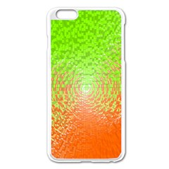 Plaid Green Orange White Circle Apple iPhone 6 Plus/6S Plus Enamel White Case