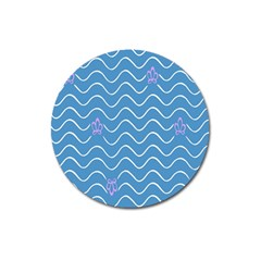 Springtime Wave Blue White Purple Floral Flower Magnet 3  (Round)