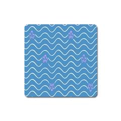 Springtime Wave Blue White Purple Floral Flower Square Magnet