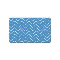 Springtime Wave Blue White Purple Floral Flower Magnet (name Card)