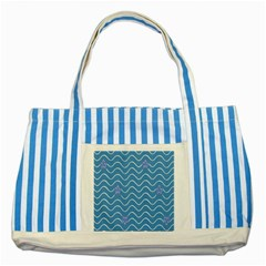 Springtime Wave Blue White Purple Floral Flower Striped Blue Tote Bag