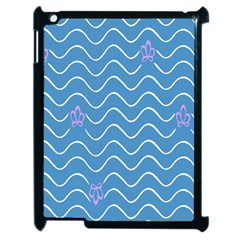 Springtime Wave Blue White Purple Floral Flower Apple iPad 2 Case (Black)