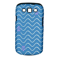 Springtime Wave Blue White Purple Floral Flower Samsung Galaxy S III Classic Hardshell Case (PC+Silicone)