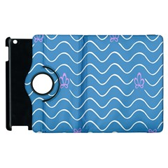 Springtime Wave Blue White Purple Floral Flower Apple iPad 2 Flip 360 Case