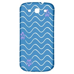 Springtime Wave Blue White Purple Floral Flower Samsung Galaxy S3 S III Classic Hardshell Back Case