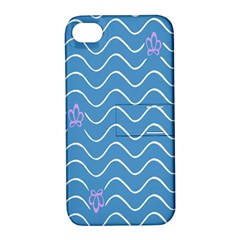 Springtime Wave Blue White Purple Floral Flower Apple iPhone 4/4S Hardshell Case with Stand