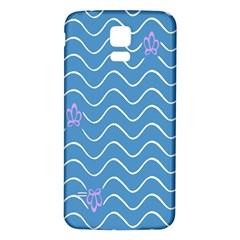Springtime Wave Blue White Purple Floral Flower Samsung Galaxy S5 Back Case (White)